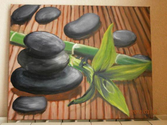 TABLEAU PEINTURE Cailloux Bambou Zen Peinture a lhuile