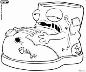 desenho de Putrib Boot, um trashie do lixo, uma bota suja