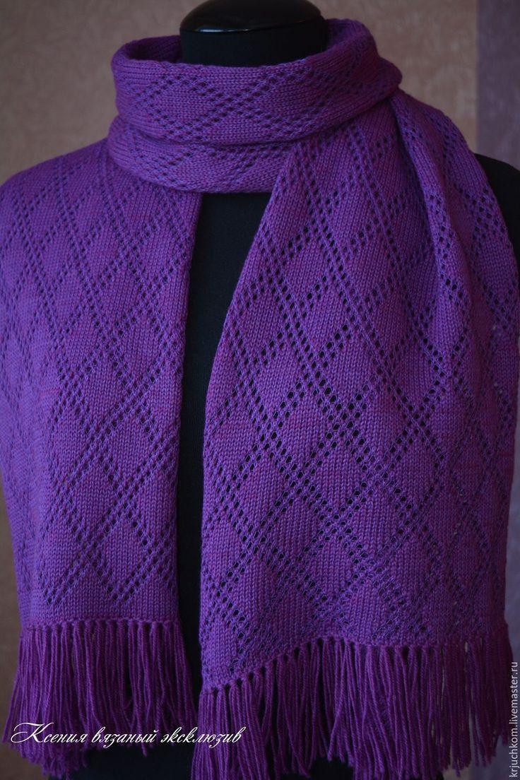 Купить Вязаный ажурный шарф-палантин - в клеточку, фиолетовый, вязаный шарф, палантин ручной работы