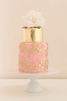 Wedding Inspiration from debbiecarlisle.com Beautiful cake with gold leaf, blush pink and golden piped details by Baby Cakes of Bath
