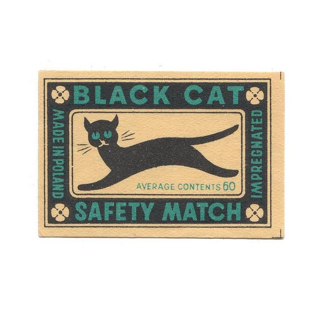 Vintage Matchbox Label: Cat Art, Cat Safety, Vintage Matchbook, Black Book, Black Cats, Safety Matching, Matching Packaging, Matchbook Art, Baby Cat