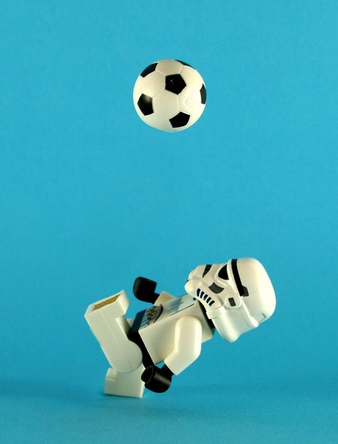 """""""Haha Lego playing football"""", no that is soccer this is a football"""