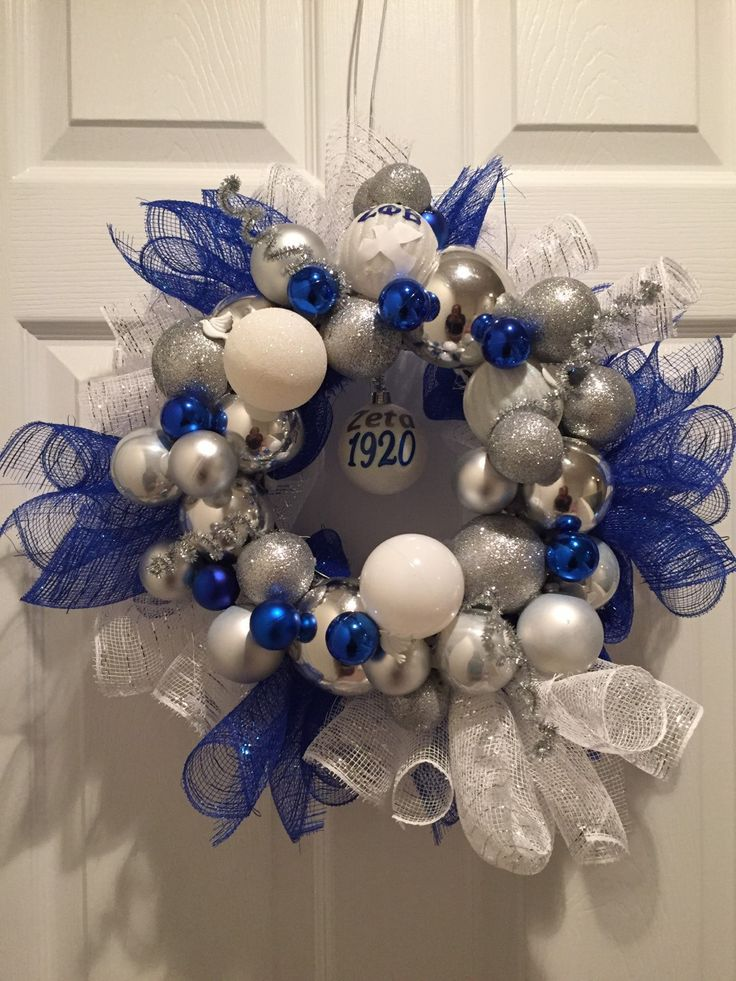 Decorated Wreath inspired by Zeta Phi Beta Sigma Z Phi B by AddiCakeCreations on Etsy