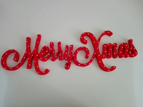 Scritta Merry Xmas in legno intagliata e di Truciolihandmade