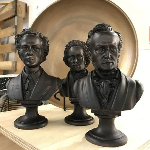Statue heads of the three most famous composers.  Buy one or keep them as a set.  BEETHOVEN  WAGNER  CHOPIN  Matte bronzed finish.