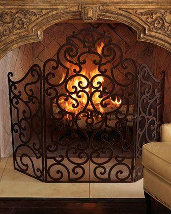 Tuscan Scroll Wrought Iron Fireplace Screen