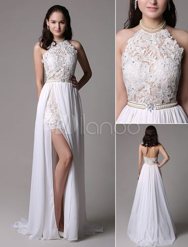 White Prom Dresses 2018 Long Ivory Halter Backless Evening Dress Lace Applique Beading Chiffon Split Party Dress – himanshi seh