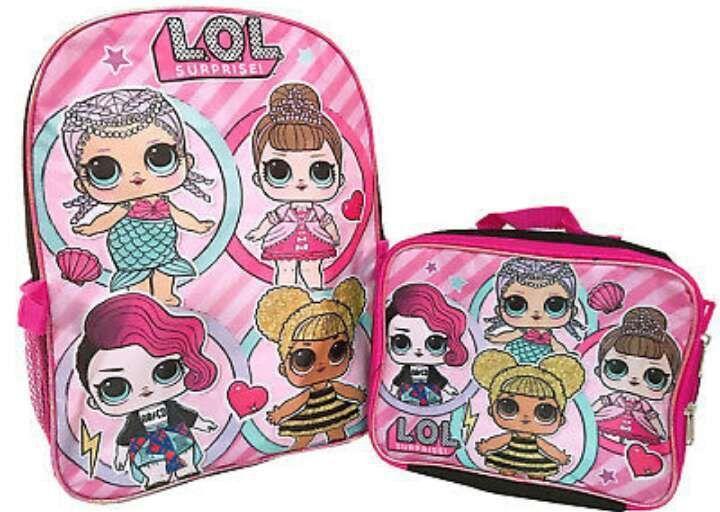 "LOL Surprise Dolls 16/""  Backpack School Book Bag Detachable Lunch Box Bag Set"