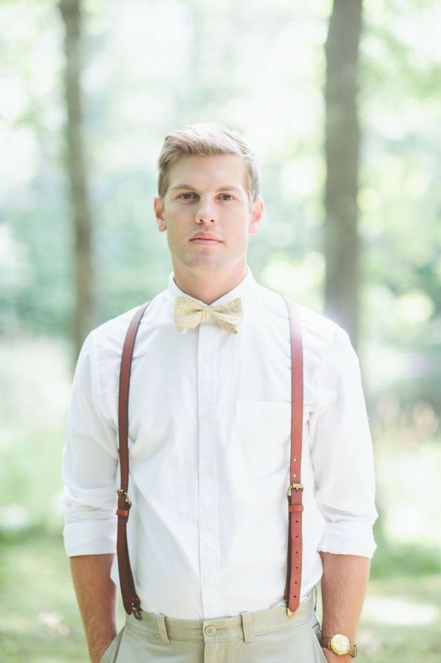 Wedding accessories for men – suspenders, wedding suspenders, brown leather, elegant, smart male outfit – a unique product by IndianaCool via en.dawanda.com