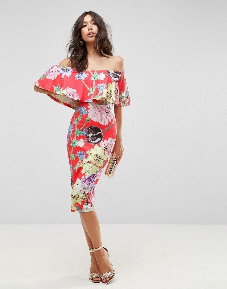 Nice ASOS Floral Ruffle Bardot Off Shoulder Midi Dress Multi