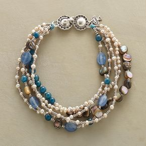 """FAIR SKIES BRACELET�--�The blues of kyanite and apatite mix it up with abalone, pearl and silver-toned seed beads in a five-strand bracelet to wear no matter what the weather. Sterling silver closure. USA. Exclusive. 7-1/2""""L."""
