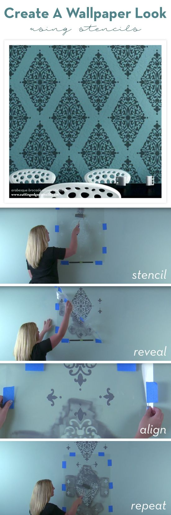 25 unique damask stencil ideas on pinterest gold damask cutting edge stencils shares how to stencil a wallpaper look on an accent wall using the amipublicfo Gallery
