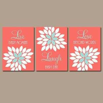 Live Laugh Love Wall Art Artwork Coral Aqua Custom Colors Flower Petals Set of 3 Prints  Bedroom Bathroom Three