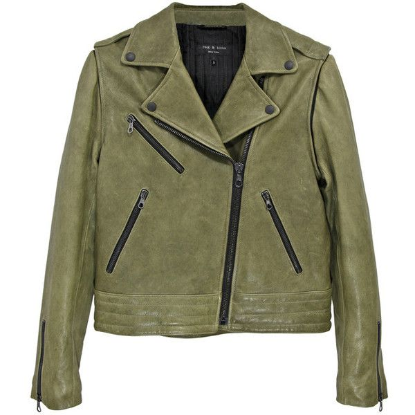 Rag & Bone - Bowery Leather Jacket (113.005 RUB) ❤ liked on Polyvore featuring outerwear, jackets, tops, coats, 100 leather jacket, rag & bone, genuine leather jacket, green leather jacket ve leather jacket