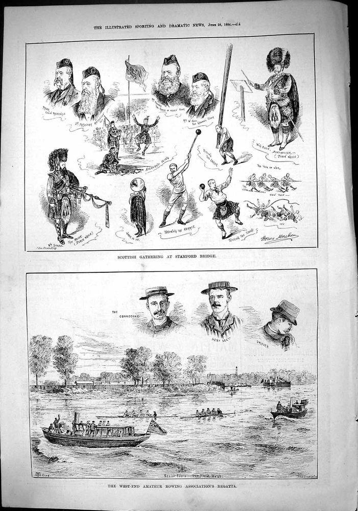 Antique Print of Scottish Gathering Stamford Bridge Mackay Ross Buck 1884 Rowing