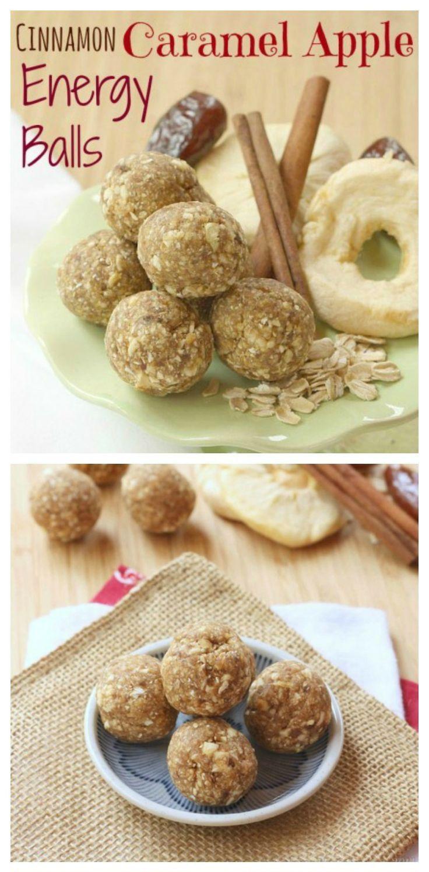Cinnamon Caramel Apple Energy Balls // #healthy #snack