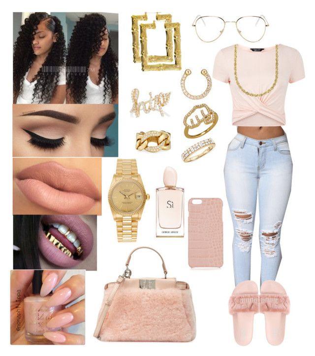 """Plush"" by mzjessicarabbit ❤ liked on Polyvore featuring RetroSuperFuture, Ileana Makri, Khai Khai, New Look, Lord & Taylor, Fendi, The Case Factory, Bessa, Rolex and Armani Beauty"