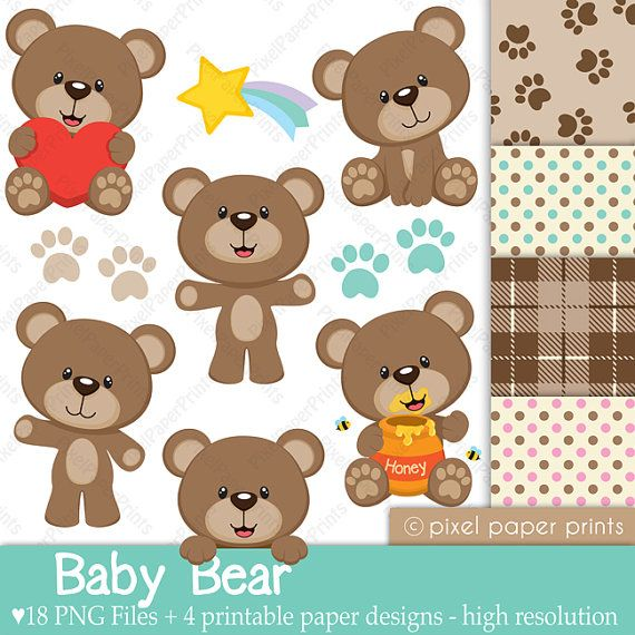 Baby Bear  Clip Art and Digital Paper Set by pixelpaperprints, $5.00