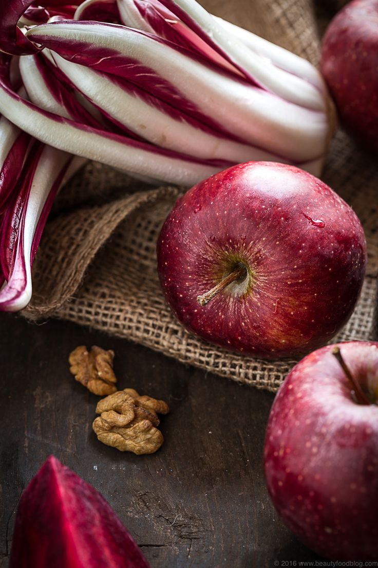 Risotto al radicchio, barbabietola e mela con noci - detox - senza burro vegan - VEGAN APPLE BEET RADICCHIO RISOTTO- Italian recipe