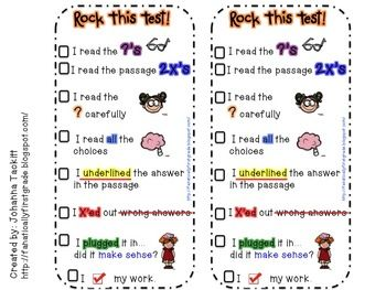 Rock This Test! Test Taking Strategy Bookmark - Johanna Tackitt..First Grade F - TeachersPayTeachers.com