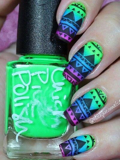 Tribal green blue ombre nails design nail art
