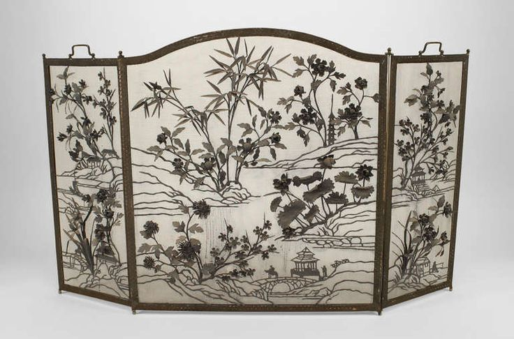 1stdibs | Arts & Crafts Wrought Iron Fire Screen With Floral And Asian Designs