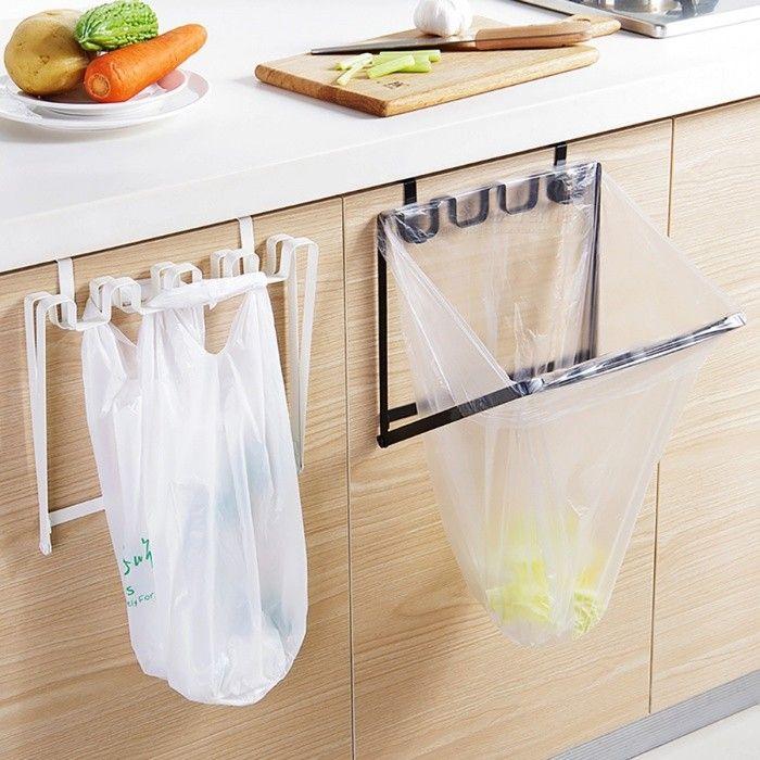 Foldable Sturdy Iron Over Cabinet Door Hanging Garbage Bag Organizer Rack Kitchen Plastic Trash Bag Holder Kitchen Garbage Bags Garbage Bag Organization Bag Rack