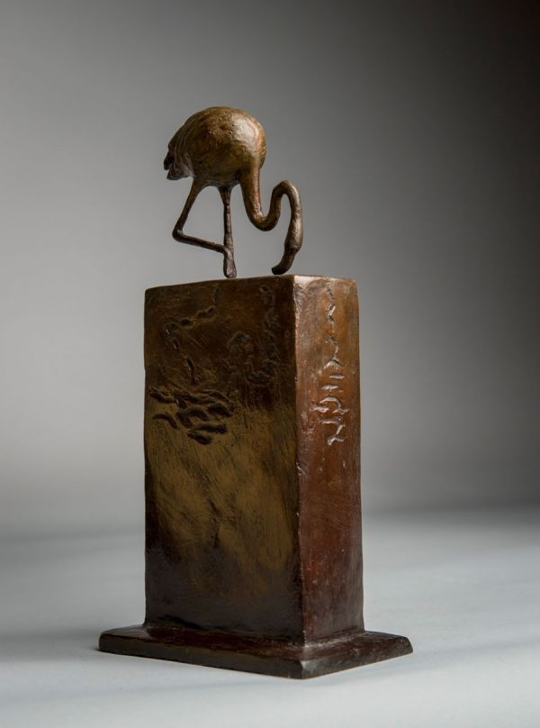 #Bronze #sculpture by #sculptor Anthony Smith titled: 'Flamingo (small Wading Feeding sculpture statuette)'. #AnthonySmith