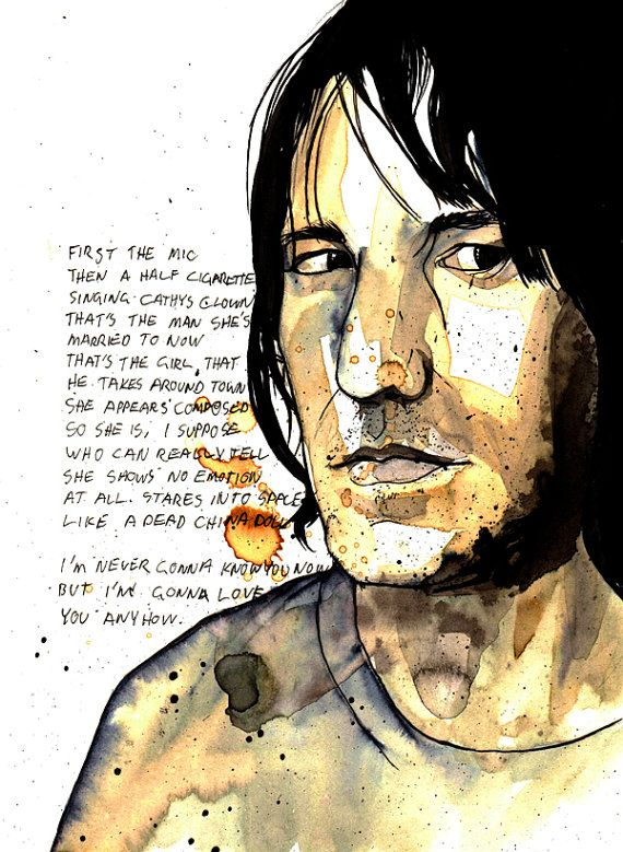 Portrait of Elliott Smith made with ink and coffee