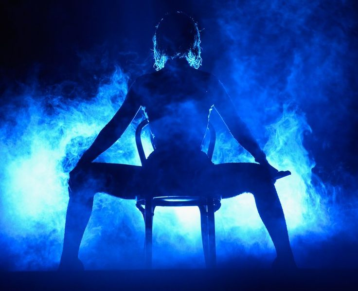 Beyonce bathed in blue light