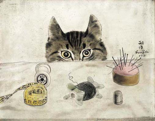 Tsuguharu Foujita (Japanese, 1886-1968).   Chat couturier.