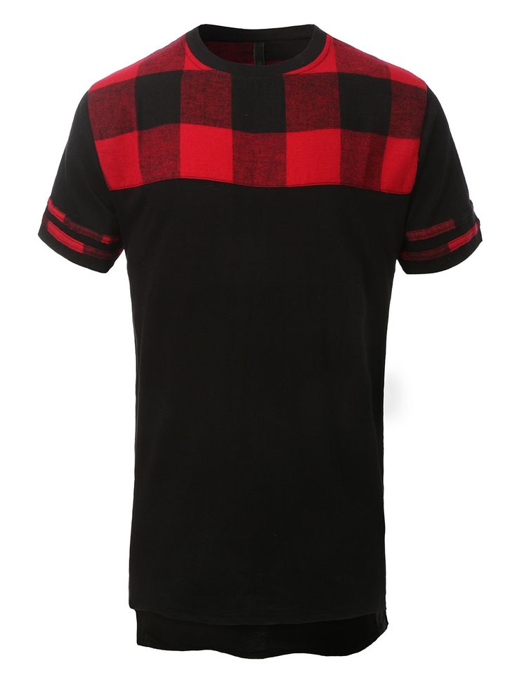 LE3NO Mens Hipster Hip Hop Front Plaid Crewneck T Shirt