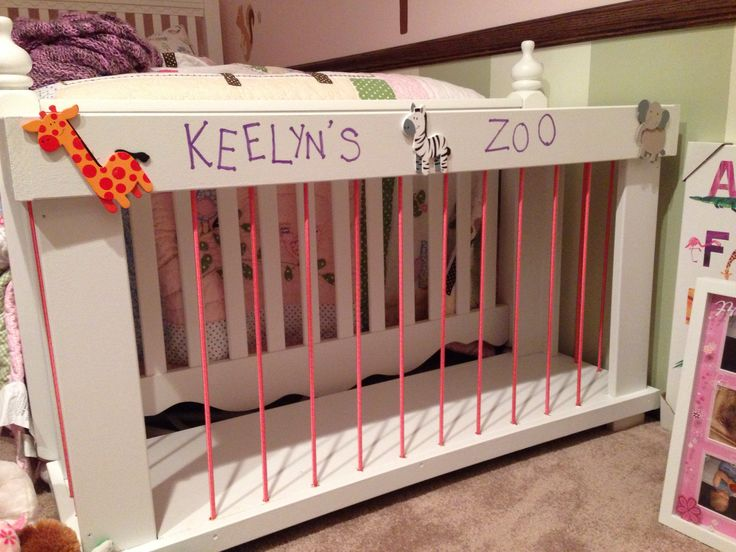 """Stuffed animal storage @ foot of bed? If going """"princess theme""""... We could label it """"Palace Pets""""???"""