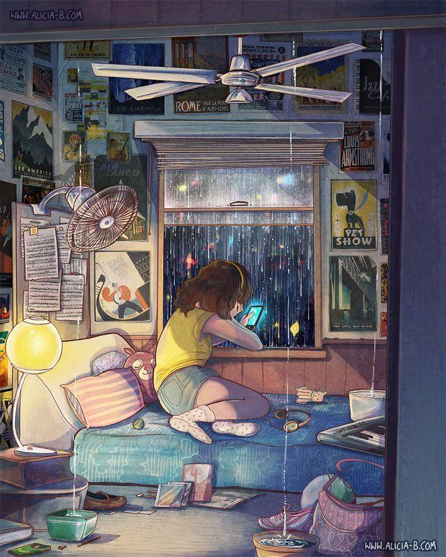 Siempre que veo dibujos de este estilo, me dan ganas de vivir así, relajada, con libros, musica, lluvia, estar calentita...es como el escape de todo, you know?