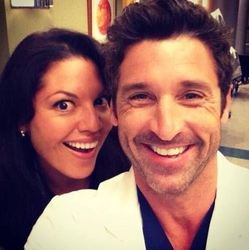 on the set of Grey's Anatomy with Sara Ramirez