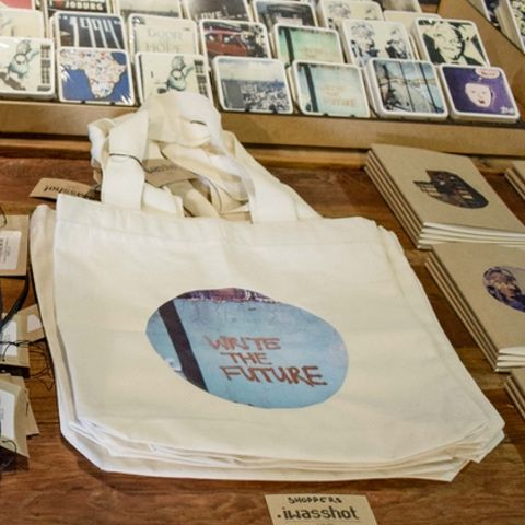 iwasshot shopper bags with printed photographs from photos taken around Joburg.