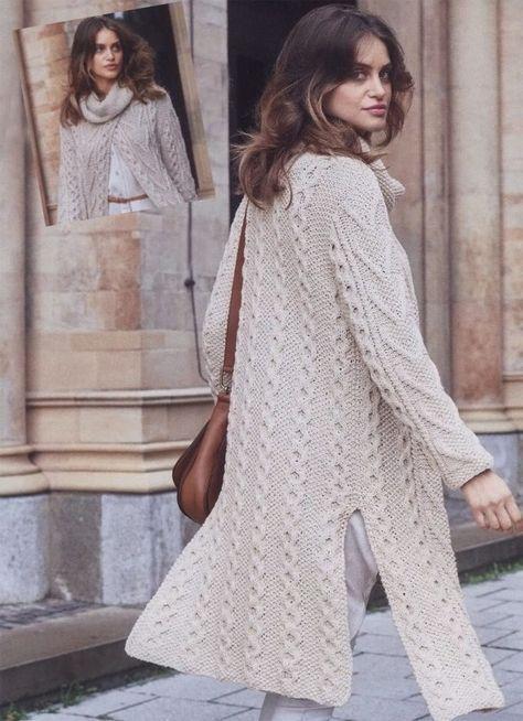 Кашемировое пальто узорами из «сот» и «кос» - Вязаные модели спицами для женщин