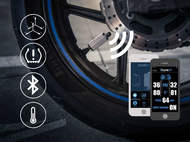 CycleAT - The tire sensor for bicycles and motorcycles. by RDV Labs, LLC — Kickstarter.  CycleAT is a Bluetooth tire sensor that allows motorcyclists & bicyclists to monitor their tire pressure, temperature, and motion data.