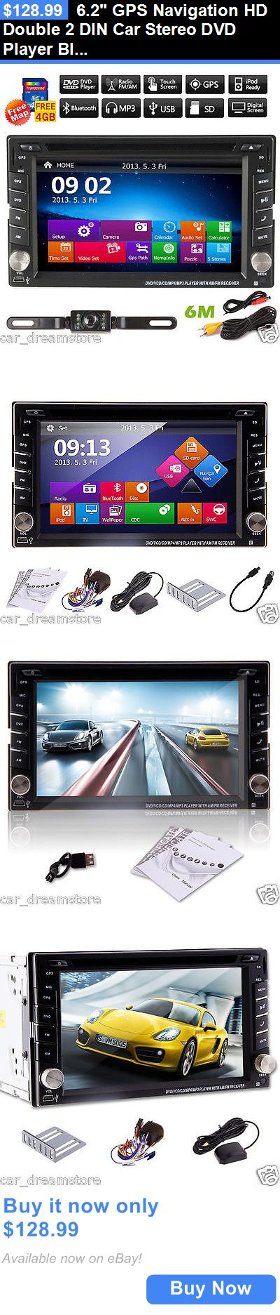 Vehicle Electronics And GPS: 6.2 Gps Navigation Hd Double 2 Din Car Stereo Dvd Player Bluetooth Ipod Mp3 Tv BUY IT NOW ONLY: $128.99