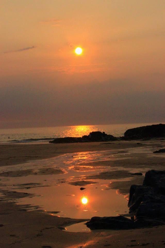 Sunset over Treyarnon Bay, Cornwall