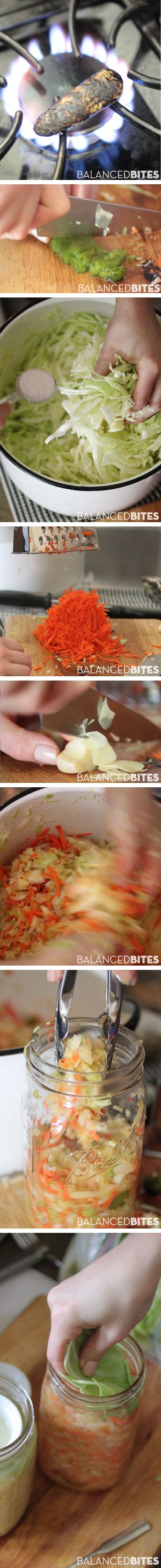 Easy Raw Sauerkraut #paleo                        This is my favorite way to make raw sauerkraut, but you can certainly follow some of the variations listed for different flavors or try your hand at a new flavor of your own. This recipe is inspired by the raw sauerkraut I fell in love with from Farmhouse Culture brand kraut, which I highly recommend trying if you can get your hands on it.  #balancedbites #kraut #fermented