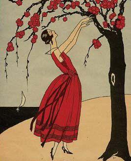 fashion dress red Art Deco