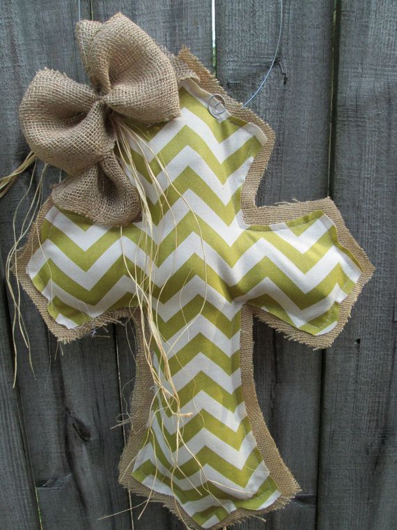 Burlap Cross Burlap Door Hanger Green Chevron by nursejeanneg