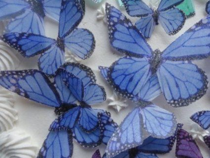 baby shower butterfly | 24 blue monarch butterfly small medium large edible butterflies ...