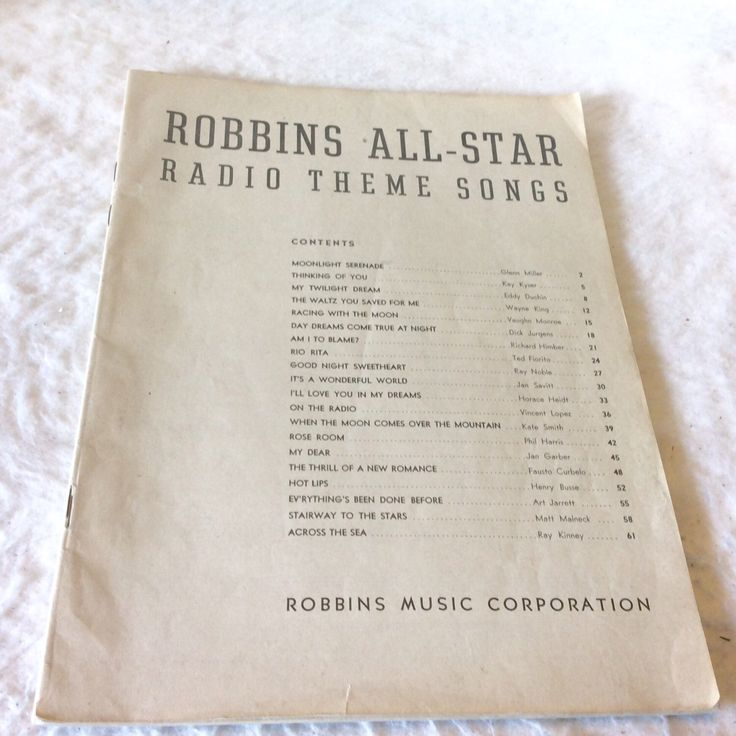 A personal favorite from my Etsy shop https://www.etsy.com/listing/482165305/robbins-all-star-radio-theme-songs-sheet
