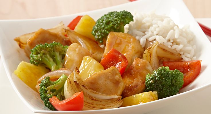 "HONEY PINEAPPLE CHICKEN STIR-FRY RECIPE: ~ From: ""McCormick Kitchens.Com"". ~ Prep.Time: 15 min; Cook.Time: 15 min; Yield: (Adjustable-6 servings). ~ This delectable version of sweet and sour chicken is lightly sweetened with honey."