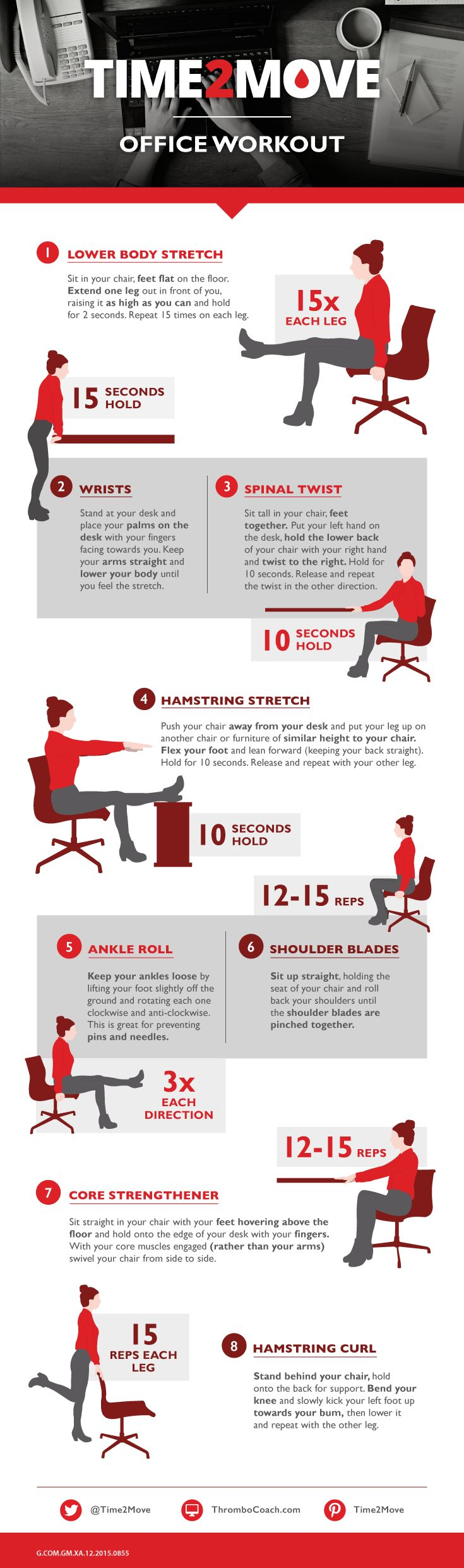 11 best office desk exercises images on pinterest office for Chair workouts