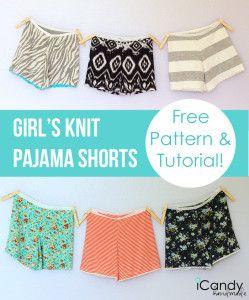 DIY Girls Knit Pajama Shorts #tutorial #sewing #icandyhandmade