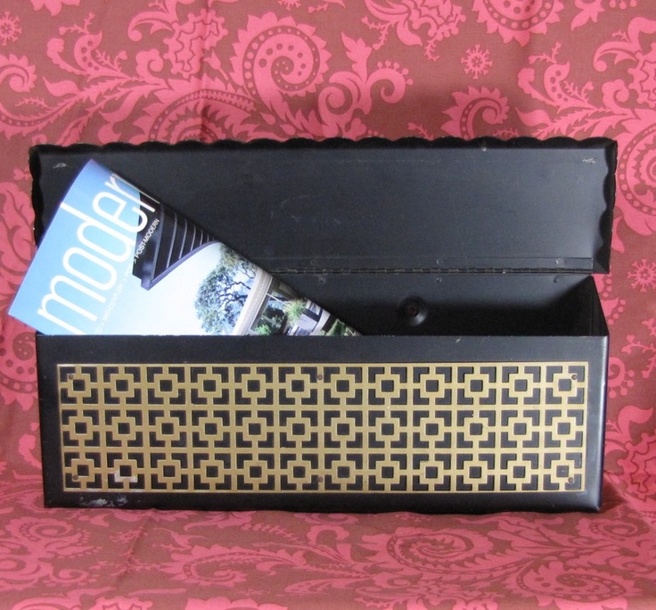 Mid Century 50s Modern Mailbox vintage asian greek key design.