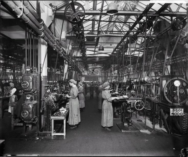 The Birmingham Small Arms Company (BSA) factory was located in Armoury Road, Small Heath. This images shows women working in Machine Shop One. The factory produced rifles, Lewis guns, shells and vehicles. The BSA factory was founded in 1861.
